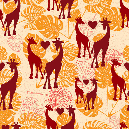 philodendron: Seamless vintage pattern with giraffe. Black silhouette. Vector illustration
