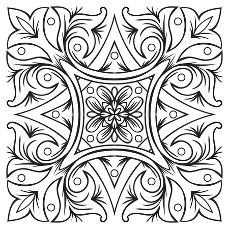 majolica: Hand drawing tile vintage black line pattern. Italian majolica style. Vector illustration.
