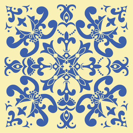 italian: Hand drawing tile pattern in  blue and yellow colors. Italian majolica style. Vector illustration. The best for your design, textiles, posters