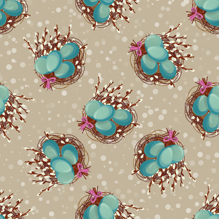 pussy willow: Easter seamless background in vintage style. Vector illustration