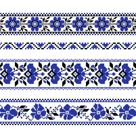 Set of Ethnic ornament pattern with  cross stitch  flower. Vector illustration. From collection of Balto-Slavic ornaments Иллюстрация