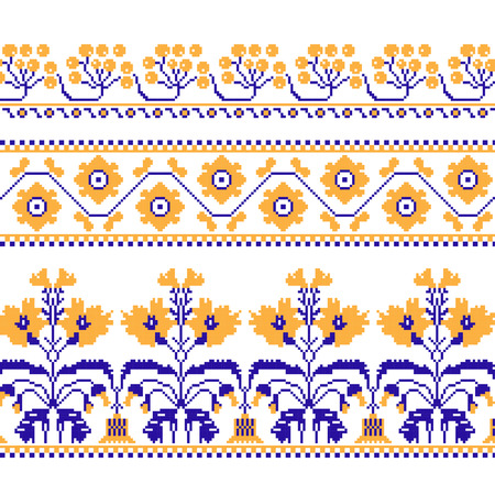 cross stitch: Set of Ethnic ornament pattern with  cross stitch  flower. Vector illustration. From collection of Balto-Slavic ornaments Illustration