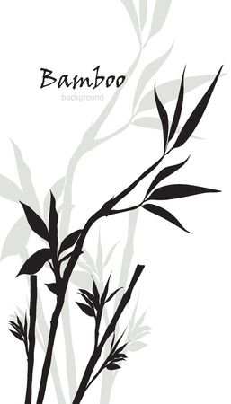 Hand-drawn green bamboo background with space for text. Black silhouette on white background