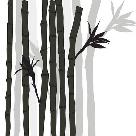 take  care: Hand-drawn green bamboo background with space for text. Black silhouette on white background