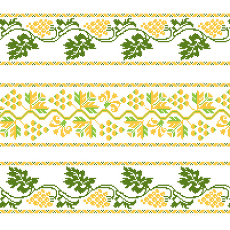 Set of Ethnic ornament pattern with cross stitch flower. Vector illustration. From collection of Balto-Slavic ornaments