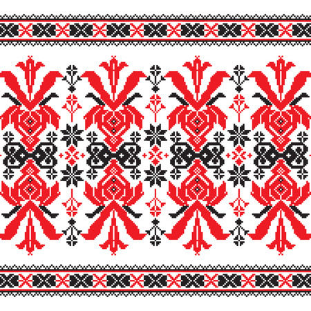 baltic: Set of Ethnic ornament pattern in in red and black colors. Vector illustration. From collection of Balto-Slavic ornaments