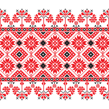 polish lithuanian: Set of Ethnic ornament pattern in red, black and white colors. Vector illustration. From collection of Balto-Slavic ornaments