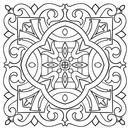 Hand drawing tile vintage black line pattern. Italian majolica style. Vector illustration. The best for your design, textiles, posters Çizim