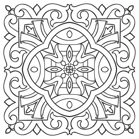 Piastrella disegno a mano modello d'epoca linea nera. stile maiolica italiana. Illustrazione vettoriale. Il meglio per il vostro disegno, tessuti, manifesti Archivio Fotografico - 55216979