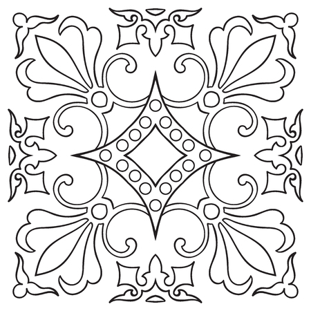 majolica: Hand drawing tile vintage black line pattern. Italian majolica style. Vector illustration. The best for your design, textiles, posters Illustration