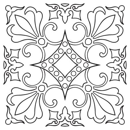 piastrella disegno a mano modello d'epoca linea nera. stile maiolica italiana. Illustrazione vettoriale. Il meglio per il vostro disegno, tessuti, manifesti