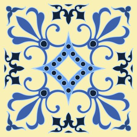 Motif De Carreaux De Dessin à La Main Dans Des Couleurs Bleu Et Jaune Style Italien De Majolique Vector Illustration Le Meilleur Pour Votre