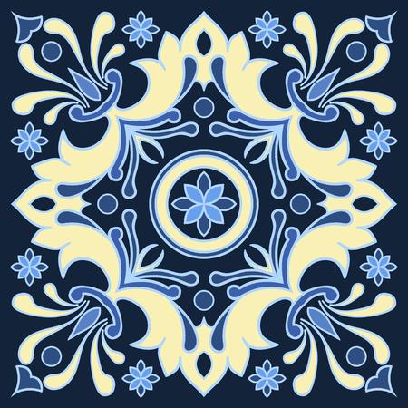 Handtekening tegelpatroon in blauwe en gele kleuren. Italiaanse majolicastijl. Vector illustratie. Het beste voor uw ontwerp, textiel, posters