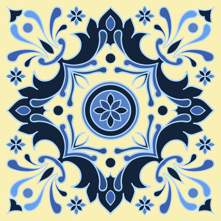 majolica: Hand drawing tile pattern in  blue and yellow colors. Italian majolica style. Vector illustration. The best for your design, textiles, posters