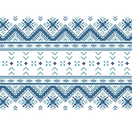 ethnic style: Set of Ethnic ornament pattern in blue colors. Vector illustration. From collection of Balto-Slavic ornaments