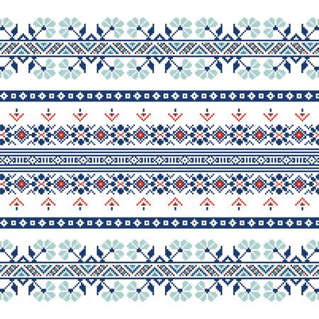青い色の民族装飾パターンのセットです。ベクトルの図。ロシの装飾品のコレクションから  イラスト・ベクター素材