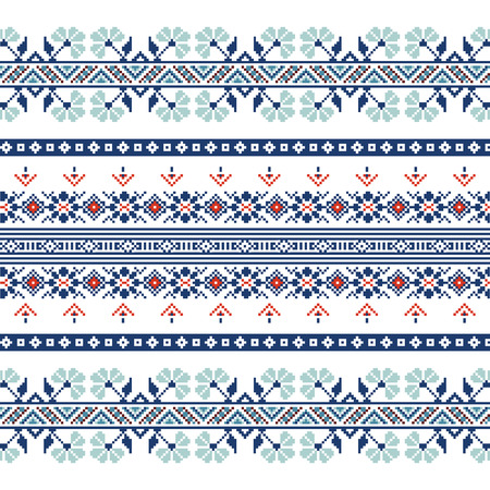polish lithuanian: Set of Ethnic ornament pattern in blue colors. Vector illustration. From collection of Balto-Slavic ornaments