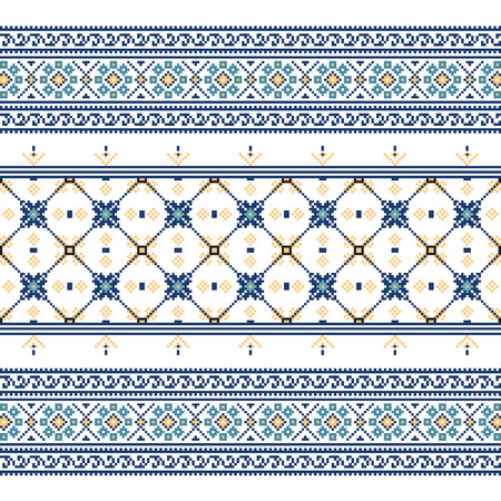 belorussian: Set of Ethnic ornament pattern in blue colors. Vector illustration. From collection of Balto-Slavic ornaments