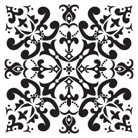 majolica: Hand drawing pattern for tile in black and white colors. Italian majolica style. Vector illustration. The best for your design, textiles, posters