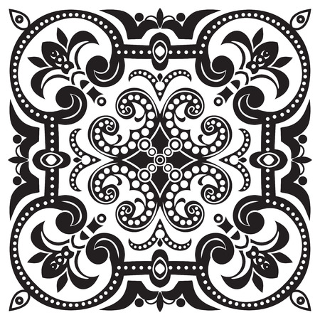 Hand drawing pattern for tile in black and white colors. Italian majolica style. Vector illustration. The best for your design, textiles, posters