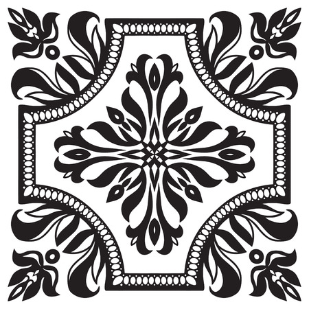 white tile: Hand drawing pattern for tile in black and white colors. Italian majolica style. Vector illustration. The best for your design, textiles, posters