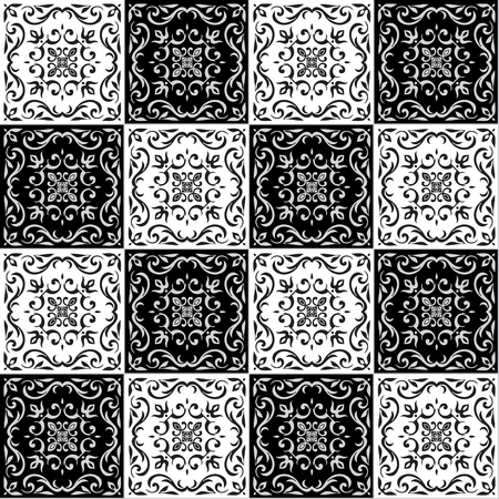 majolica: Hand drawing seamless  pattern for tile in black and white colors. Italian majolica style. Vector illustration. The best for your design, textiles, posters