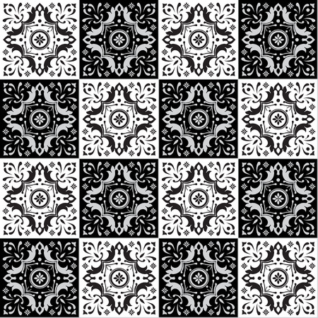 white tile: Hand drawing seamless  pattern for tile in black and white colors. Italian majolica style. Vector illustration. The best for your design, textiles, posters