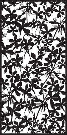 celosía patrón rectangular de fondo floral. Phlox flor silueta. Buena idea para rejillas metálicas con el corte por láser. Ilustración del vector.