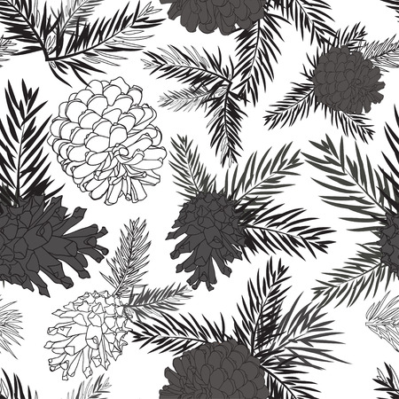 fir cone: Fir tree branches with pine cone seamless background Black silhouette on white background. Vector illustrations Illustration