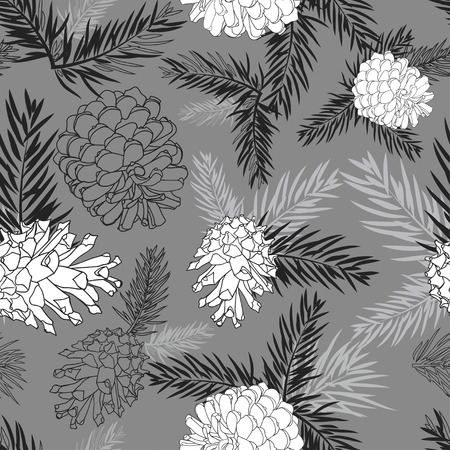 fir cone: Fir tree branches with pine cone seamless background Black and white silhouette on gray background. Vector illustrations