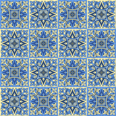 majolica: Hand drawing seamless pattern for tile in blue and yellow colors. Italian majolica style. Vector illustration. The best for your design, textiles, posters
