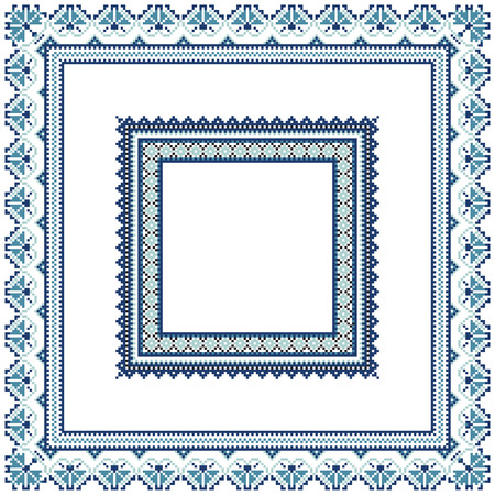 polish lithuanian: Set of Ethnic ornament pattern frames in blue colors. Vector illustration. From collection of Balto-Slavic ornaments