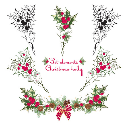 christmas motive: Set Hand drawing floral holly elementsVector illustration. Red and green
