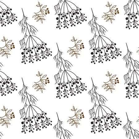autumn motif: Hand drawing decorative floral and herbs silhouette seamless pattern on white background. Vector illustration