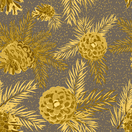 Seamless pattern with fir-cone. Christmas tree ornament Vector illustrations
