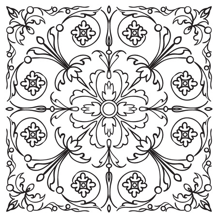 Hand drawing pattern for tile in black and white colors. Italian majolica style. Ilustração