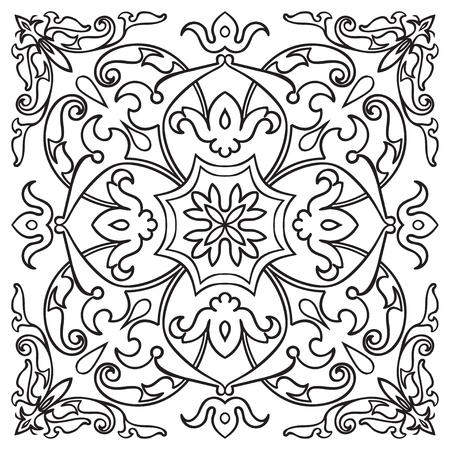 Hand tekening patroon voor tegel in zwart en wit kleuren. Italiaanse majolica-stijl. Vector Illustratie