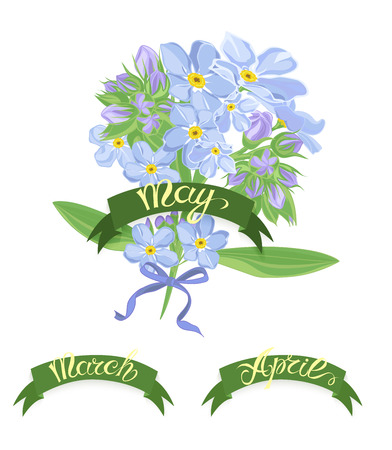 months of the year: Set labels with hand-drawn lettering, months names of season year, Beautiful bouquet of forget-me-not flowers. Vector illustration.