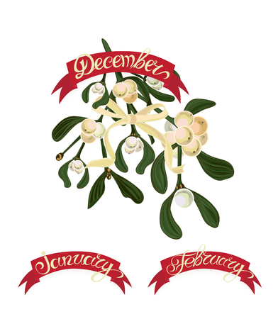 winter wheat: Set labels with hand-drawn lettering, months names of season year, Beautiful bouquet of flowers. Vector illustration.