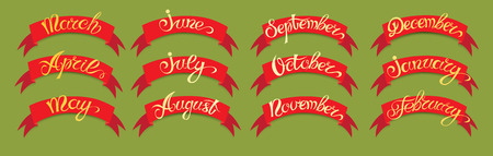 months of the year: Set red labels with hand-drawn lettering on green background, months names of year. Vector illustration.