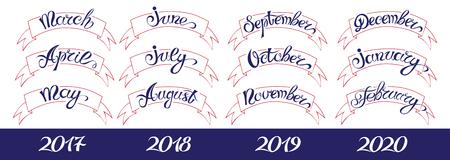 meses del año: Conjuntos de etiquetas con las letras a mano, nombres de meses y namber del año. Ilustración del vector.