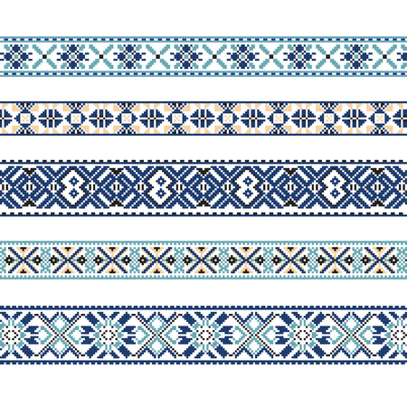 belorussian: Set of Ethnic ornament pattern in blue and brown colors. Vector illustration. From collection of Balto-Slavic ornaments Illustration