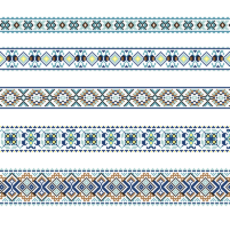 polish lithuanian: Set of Ethnic ornament pattern in blue and brown colors. Vector illustration. From collection of Balto-Slavic ornaments Illustration