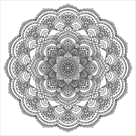 Hand drawing element. Black and white. Flower mandala. Vector illustration. The best for your design, textiles, posters, tattoos, corporate identity