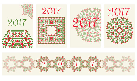 belorussian: 2017 Calendar with ethnic round ornament pattern in red and green colors Vector illustration. From collection of Balto-Slavic ornaments Illustration