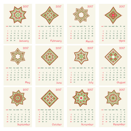 polish lithuanian: 2017 Calendar with ethnic round ornament pattern in red and green colors Vector illustration. From collection of Balto-Slavic ornaments Illustration