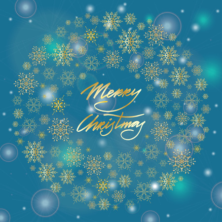 falling star: Merry Christmas greeting card with hand lettering text.