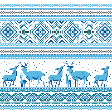 ukrainian traditional: Set of Ethnic holiday ornament pattern in different colors. Vector illustration. From collection of Balto-Slavic ornaments