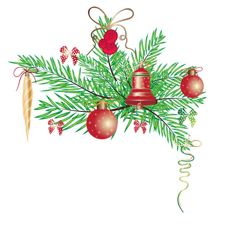Vintage New Year wreath with branch fir and Christmas balls isolated on white background. Vector illustration