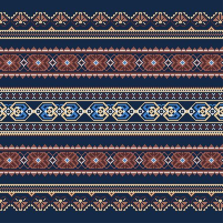 Ethnic ornamental background in blue and brown colors. Vector illustration. From collection of Balto-Slavic ornaments